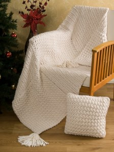 Aran Squared Throw and Pillow Made with Lion Brand Wool-Ease Thick and Quick